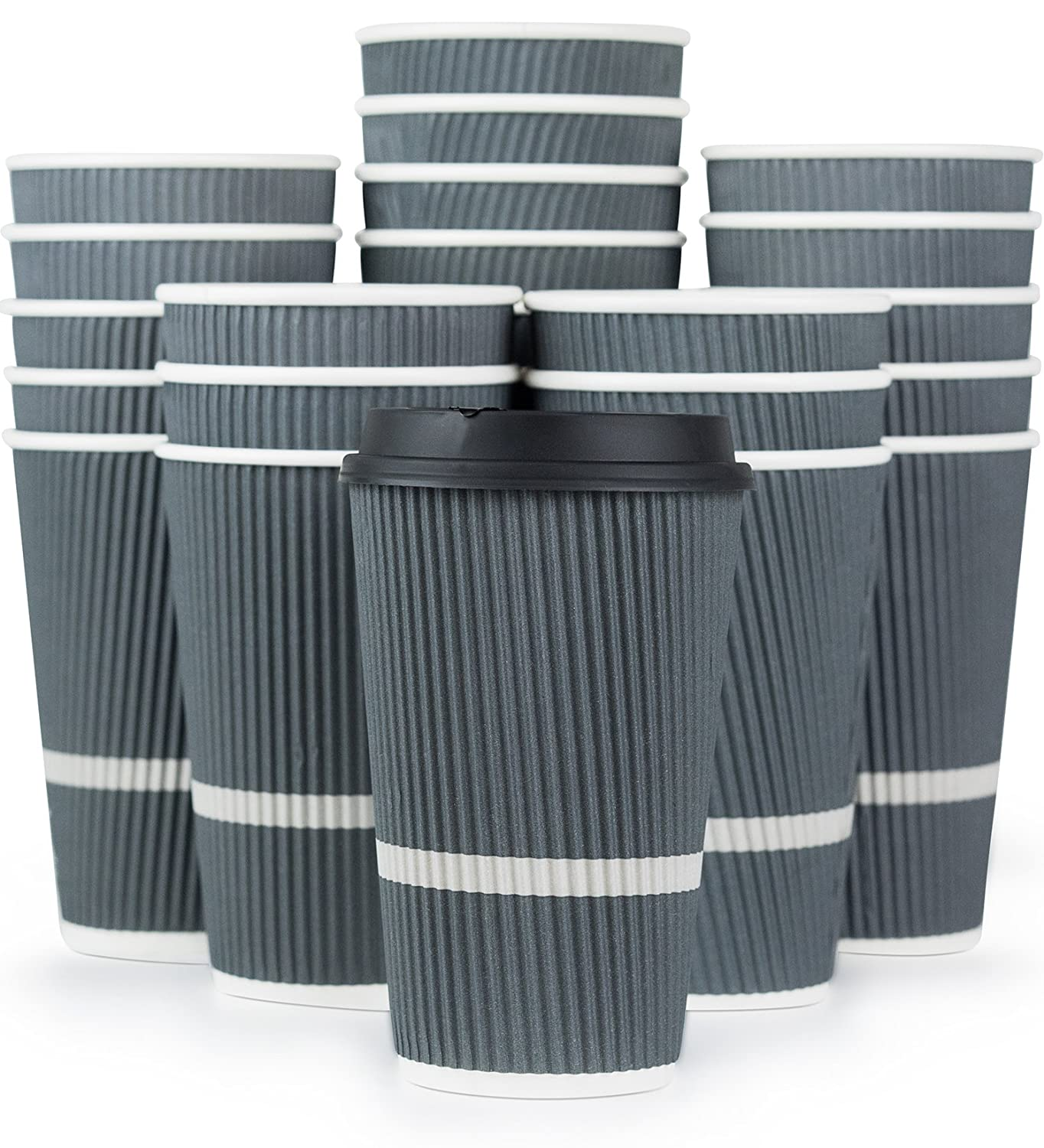 Glowcoast Disposable Coffee Cups With Lids - 16 oz To Go Coffee Cup (80 Pack). Large Travel Cups Hold Shape With Hot and Cold Drinks, No Leaks! Insulated Ripple Cups Protect Hands, No Sleeves needed!