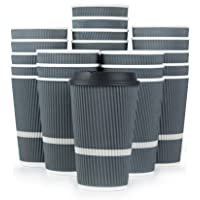 Glowcoast Disposable Coffee Cups With Lids - 16 oz To Go Coffee Cup (80 Pack). Large...