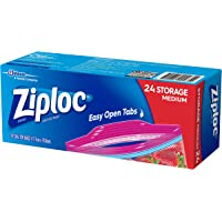 Ziploc Plastic Storage Bags with Smart Zip Plus Seal and Easy Open Tabs, BPA Free, Microwave Safe, Medium, 24 count