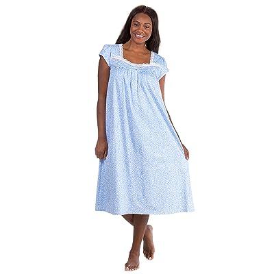 55c172d6f5 Eileen West Cotton Knit Cap Sleeve Long Nightgown in Sherwood Vine