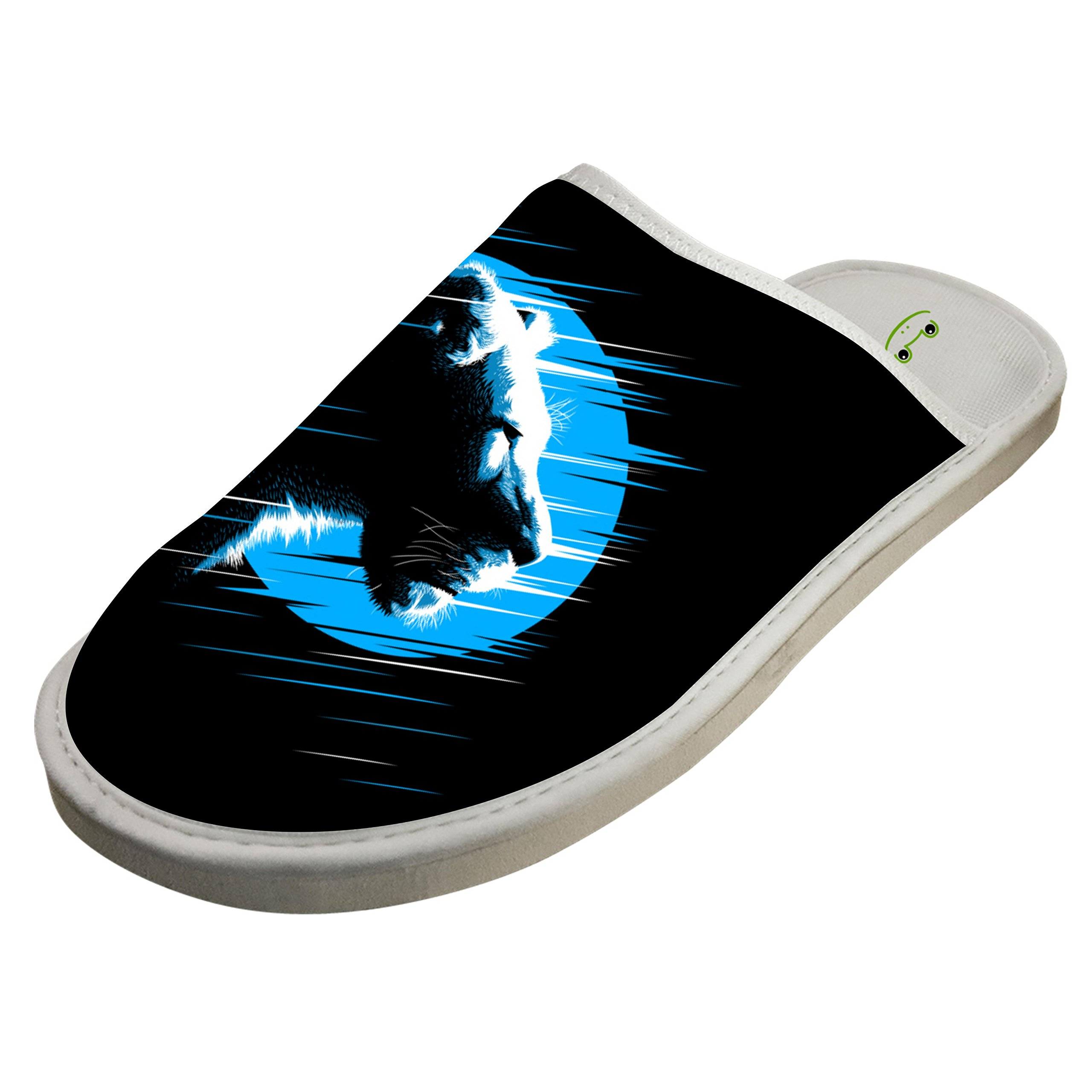 Jane-LEE Lioness Predator Blue House Slippers/Cotton Slippers/Flat Shoes/Indoor Slippers 6 D(M) US
