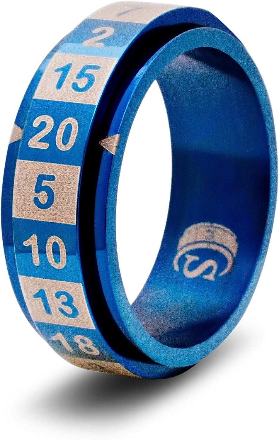 Size 13 - Stainless Steel - Blue CritSuccess d20 Dice Ring with 20 Sided Die Spinner