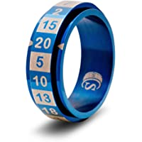 CritSuccess d20 Dice Ring with 20 Sided Die Spinner (Size 14.5 - Stainless Steel - Blue)