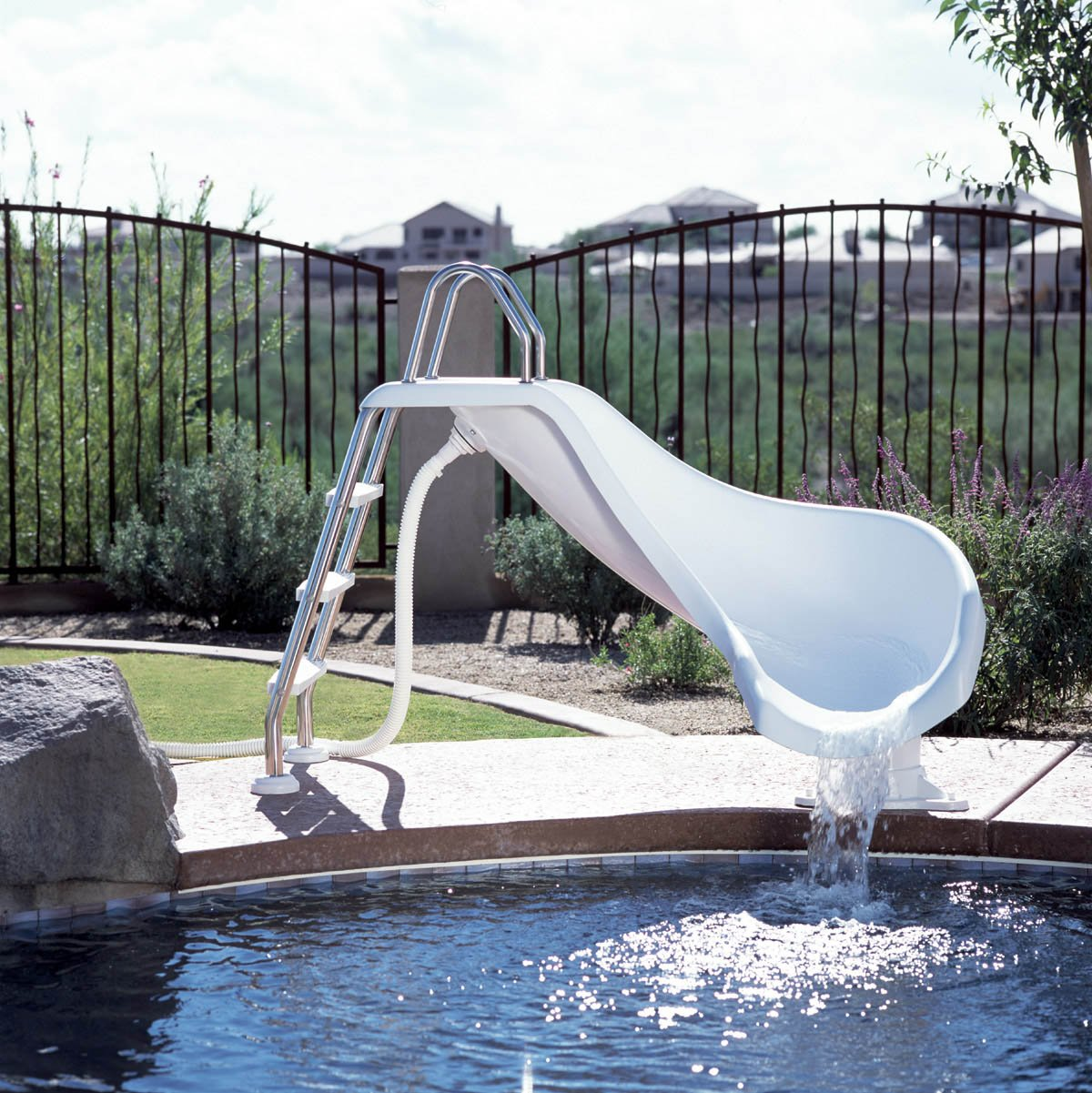 Outdoor pool with slide  Amazon.com : Inter-Fab ZM-CR-SS Water Pool Slide, Zoomerang, White ...