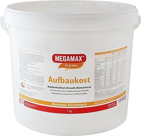 MEGAMAX - Aufbaukost - Suplemento para ganar peso y masa muscular - Plátano - Solo un 0,5% de grasa - 7 kg: Amazon.es: Deportes y aire libre