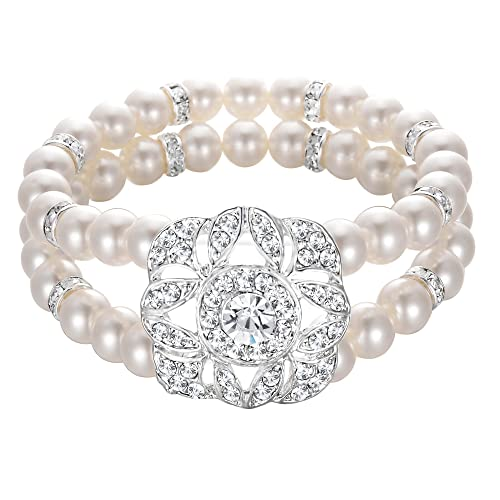 Vintage Style Jewelry, Retro Jewelry BriLove Womens Wedding Bridal Crystal Simulated Pearl Double Row Strand Halo Vintage Stretch Bracelet $16.99 AT vintagedancer.com