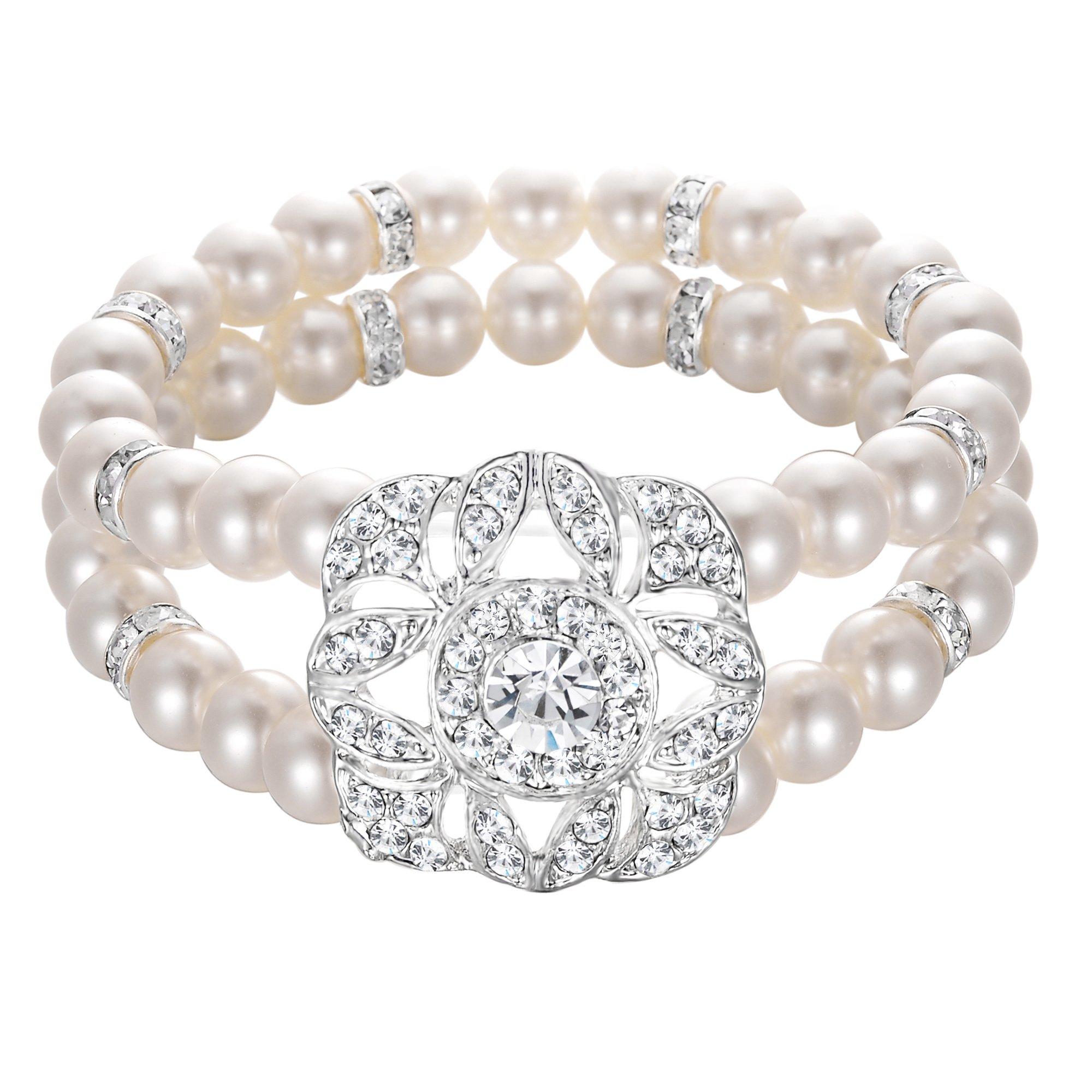 BriLove Women's Wedding Bridal Bracelet, Simulated Pearl Crystal Double Row Strand Floral Leaf Vintage Stretch Bracelet Clear Silver-Tone Ivory Color