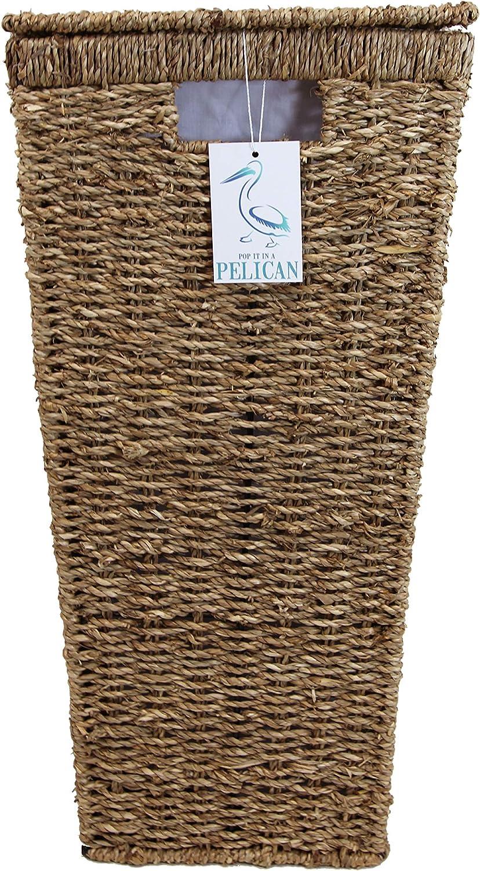 biancheria letto e bagno Rectangle 60 ltr Cesto in Vimini per Biancheria Forma angolare con coperchio Soluzione Naturale Salvaspazio Fodera lavabile Per vestiti