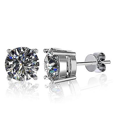 4c0a86619 Amazon.com: Juliani 18k-Gold-Plated Hypoallergenic Stud Earrings - 6mm 1.7  Carat | Jewelry Women Men | Kids Girls Teens: Jewelry