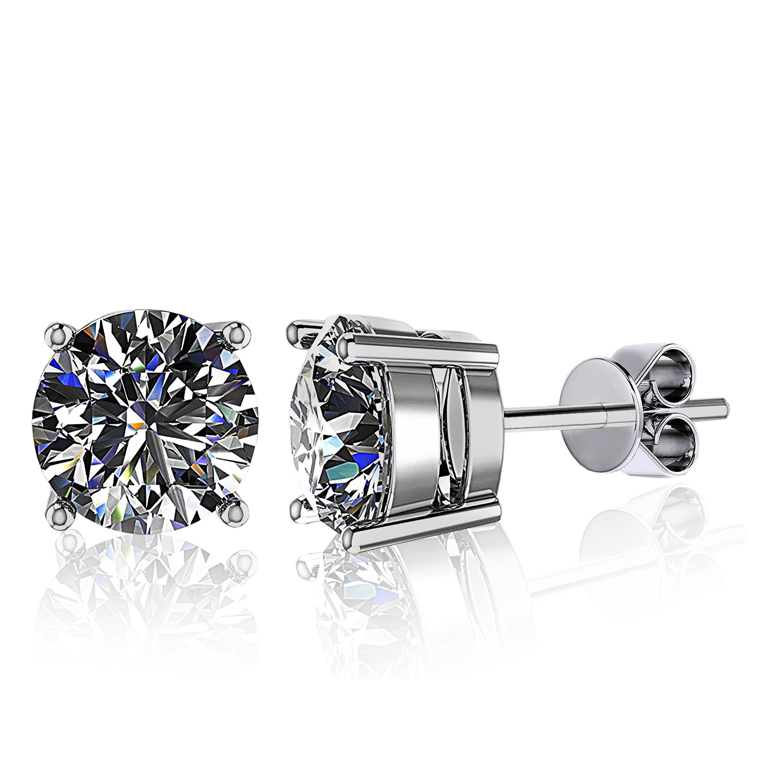 Juliani Hypoallergenic Stud Earrings Jewelry - 6mm 1.7 CTTW CZ 18K Gold Plated For Women Men Boys Girls