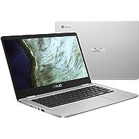 "Asus Chromebook C423NA-DH02 14.0"" HD NanoEdge Display, 180 Degree, Intel Dual Core Celeron Processor, 4GB RAM, 32GB eMMC Storage, Silver Color"