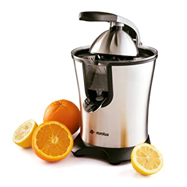 Eurolux Electric Orange Juicer Squeezer Stainless Steel 160 Watts of Power Soft Grip Handle and Cone Lid for Easy Use