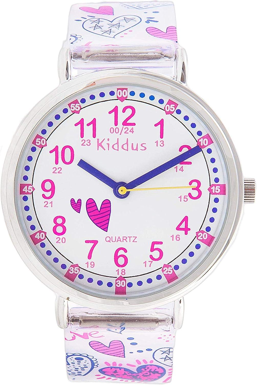 KIDDUS Reloj Educativo Analógico para niño, niña. Aprende la Hora con Nuestro Fácil Sistema Time Teacher. Ejercicios incluídos. Mecanismo de Cuarzo