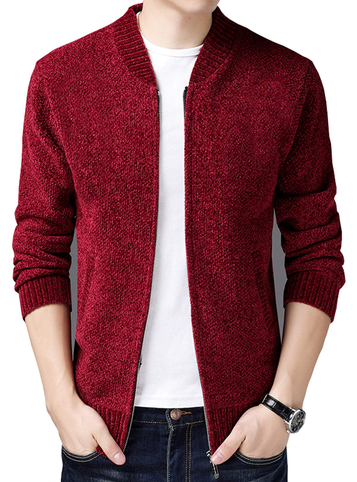 6649be1f303 HOWON Men s Casual Thick Knitted Zipper Cardigan Sweater Red L