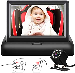 Shynerk Baby Car Mirror, 4.3'' HD Night Vision Function Car Mirror Display, Safety Car Seat Mirror Camera Monitored Mirror with Wide Crystal Clear View, Aimed at Baby, Easily Observe the Baby's Move