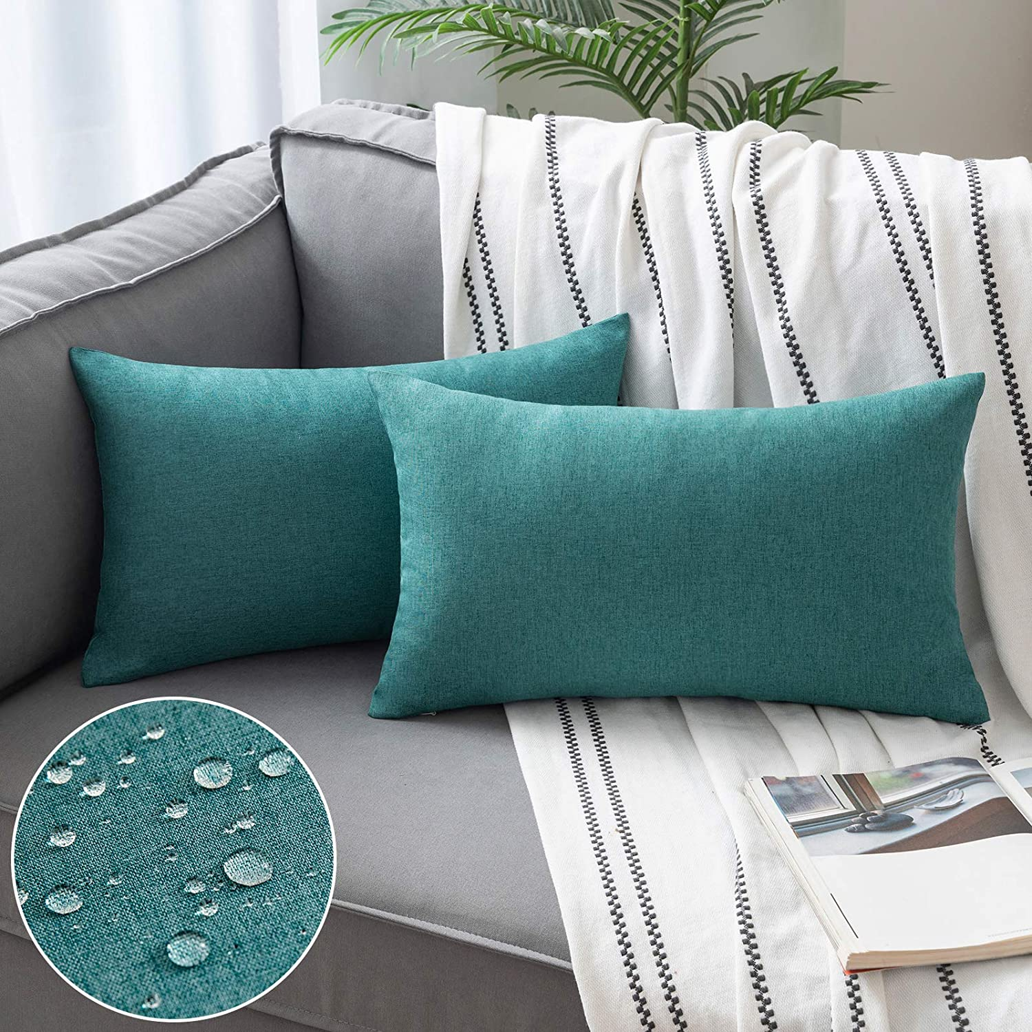 Woaboy Set of 2 Outdoor Waterproof Throw Pillow Covers Decorative Farmhouse Solid Cushion Cases for Patio Garden Sofa Chairs Turquoise 12x20 inch