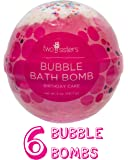 6 Bubble Bath Bombs by Two Sisters Spa. 6-5oz Large 99% Natural Fizzies For Women, Teens and Kids. Moisturizes Dry Sensitive Skin. Releases Lush Color, Scent, and Bubbles.