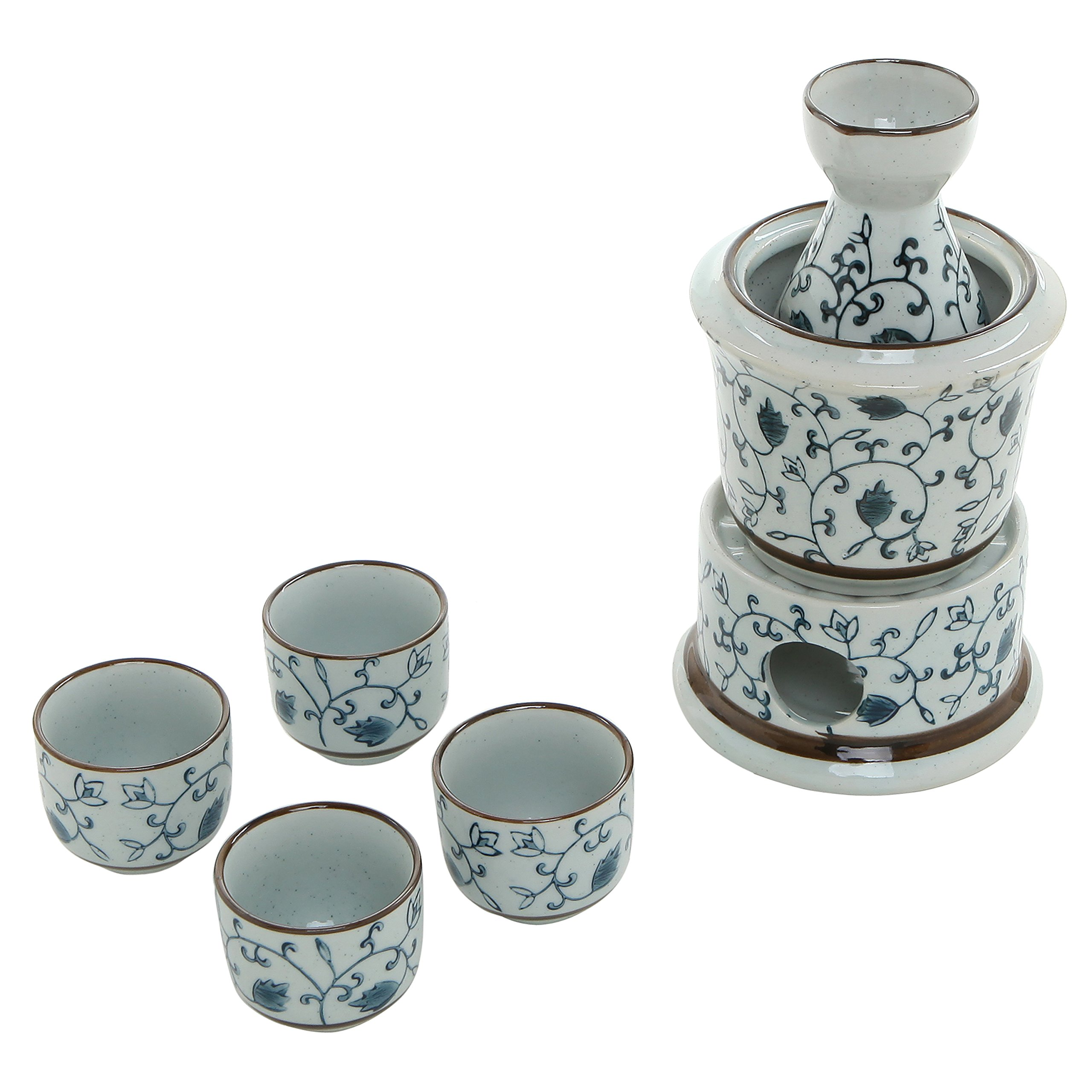 7-Piece Blue Floral Design White Ceramic Japanese Hot Sake Set with Warmer, 4 Cups, Carafe & Heating Pot by MyGift