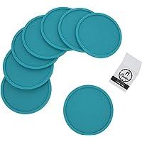 Coastee Siliconen onderzetters - 8 stuks, turquoise, glazen onderzetters set voor bar, woonkamer, keuken