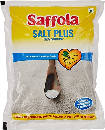 Saffola Salt Plus - Less Sodium, 1kg Pack