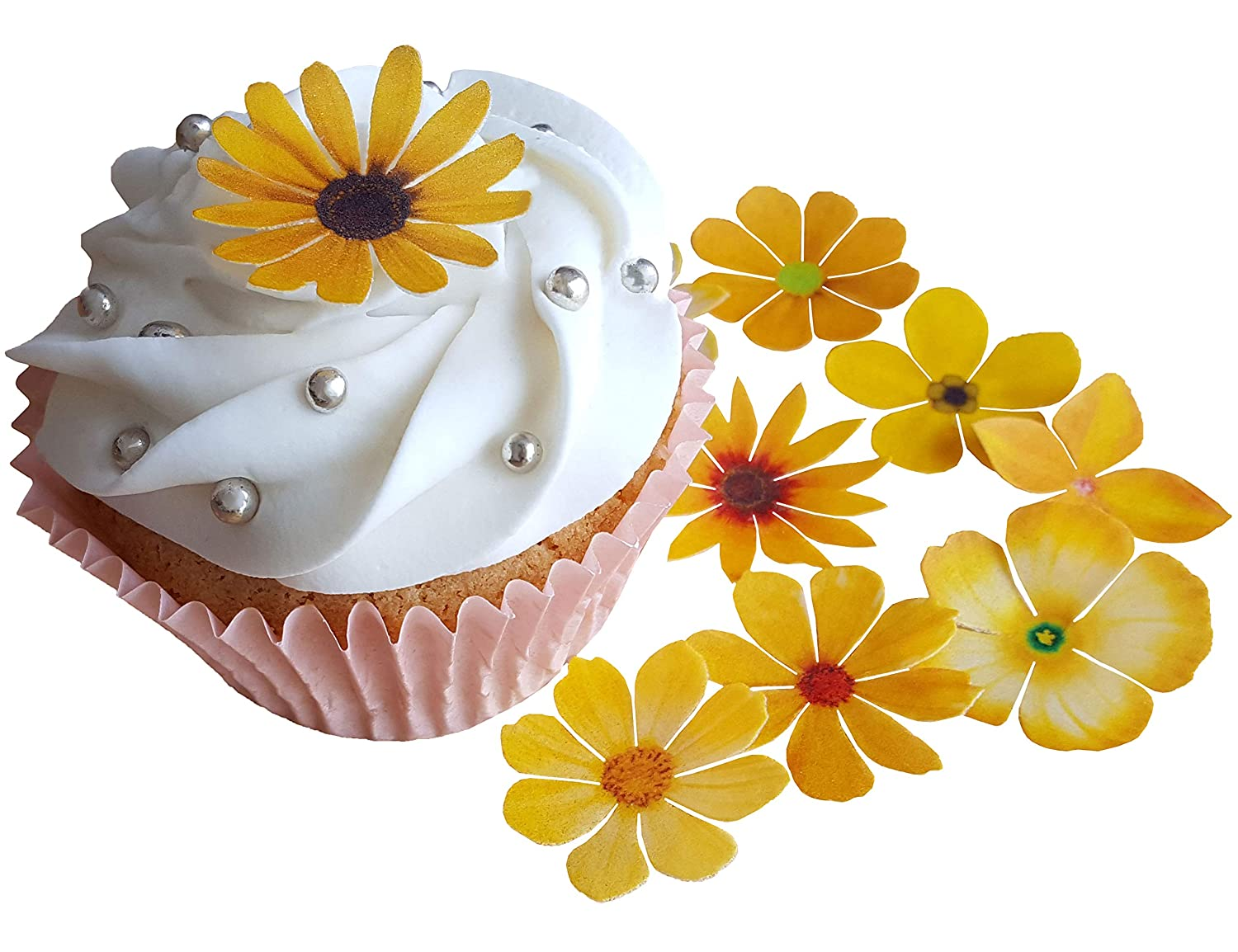 . PRE-CUT BEAUTIFUL YELLOW FLOWERS EDIBLE RICE / WAFER PAPER PRE CUT CUPCAKE CAKE DESSERT TOPPERS BIRTHDAY PARTY WEDDING BABY SHOWER DECORATIONS. (Flowers) Anglesit Ltd