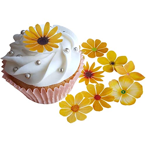 Edible flower cake decorations amazon pre cut beautiful yellow flowers edible rice wafer paper pre cut cupcake cake mightylinksfo