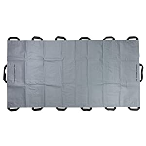 LINE2design Portable Transport Unit - EMS Emergency Foldable Patient Mover Rescue Travel Size Roll Stretcher - Gray Heavy-Duty 14 Handles - Capacity 1500 lbs