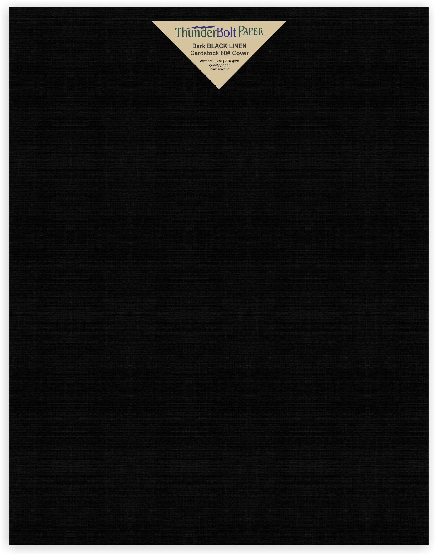35 Black Linen 80# Cover Paper Sheets - 11'' X 14'' (11X14 Inches) Scrapbook|Picture-Frame Size - Card Weight - Deep Dye, Fine Linen Textured Finish - Quality Cardstock