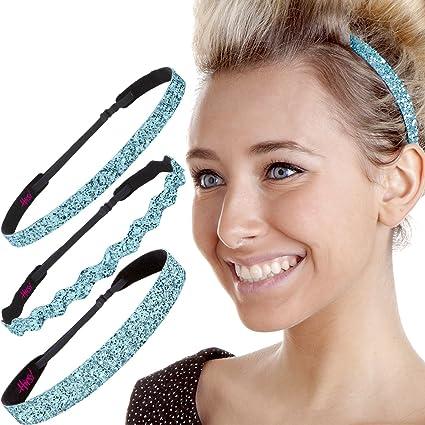 Hipsy Women's Adjustable No Slip Bling Glitter Headband Mixed 3pk (Mixed Light Blue 3pk) by Hipsy