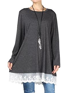 3783a8bab90 ReachMe Womens Extra Plus Size Tunics Long Sleeve V Neck Irregular ...