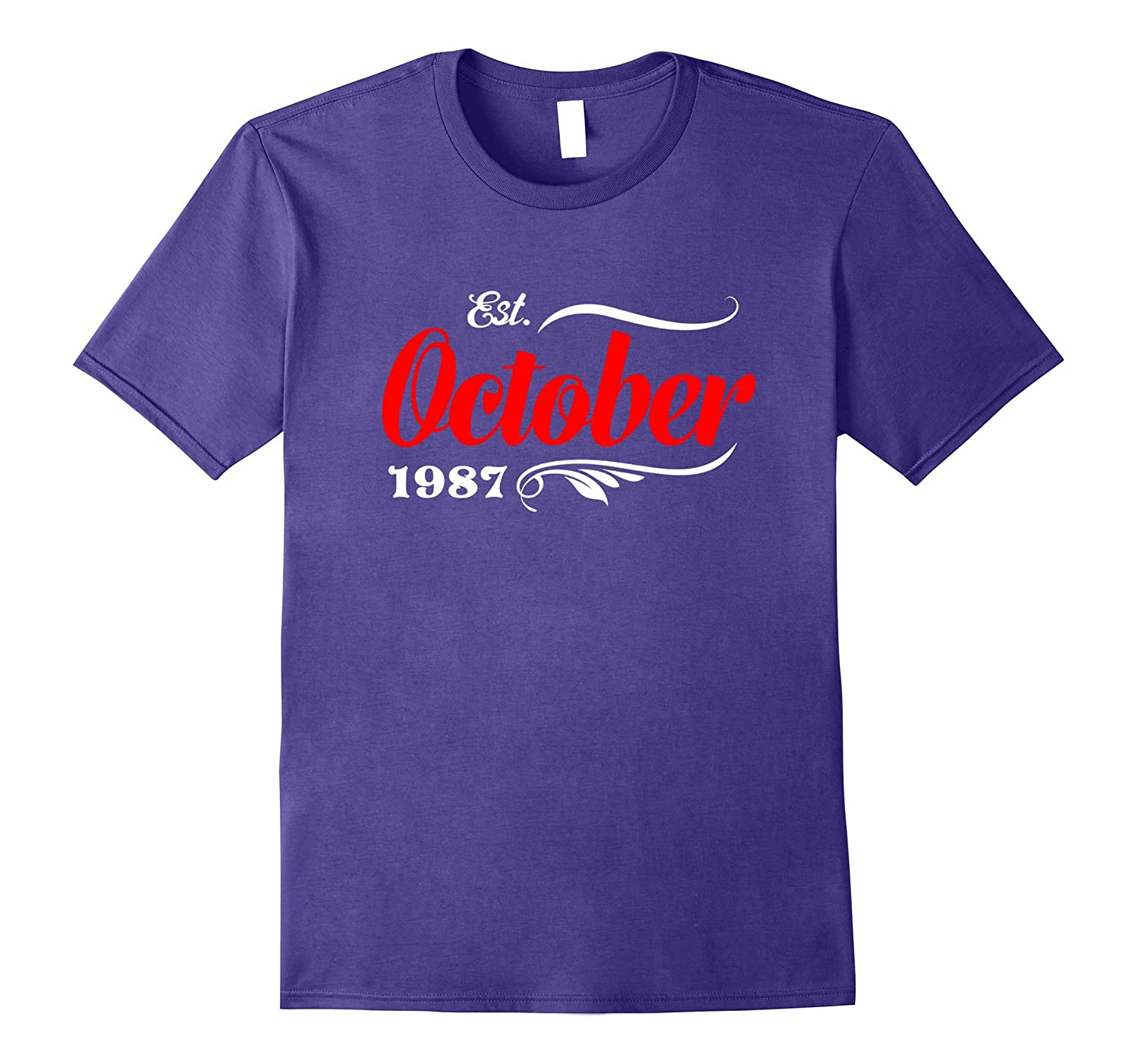 30th Birthday Gifts - Est October 1987 T-Shirt-T-Shirt
