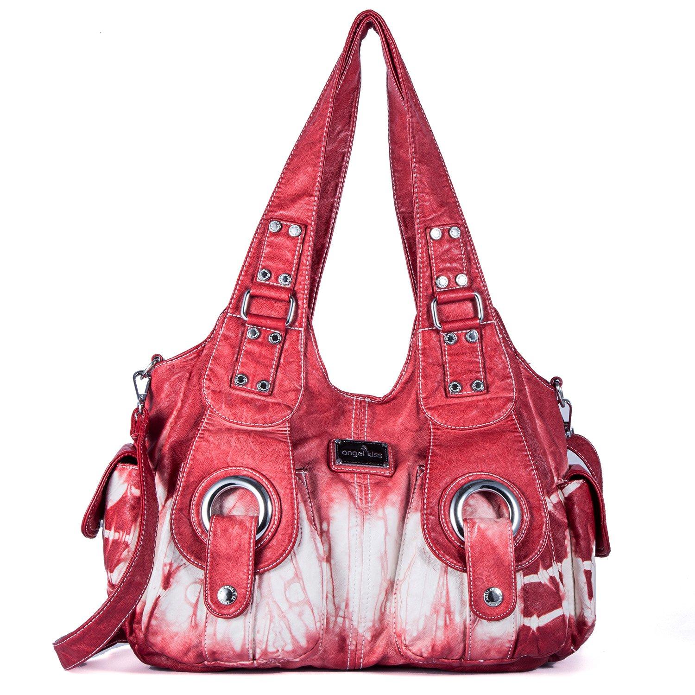 Handbag Hobo Women Bag Roomy Multiple Pockets Street ladies' Shoulder Bag Fashion PU Tote Satchel Bag for Women (XS160191Z red)