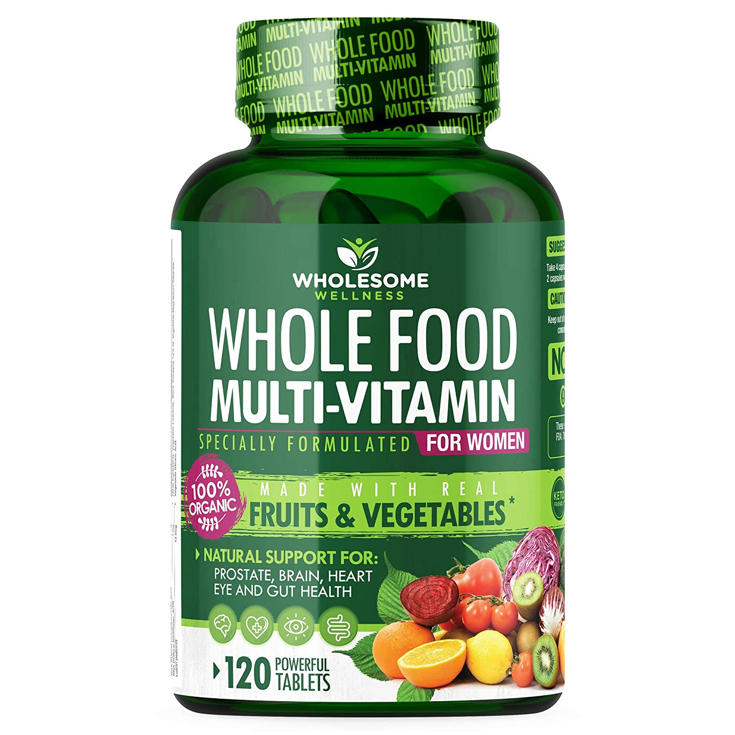 Whole Food Multivitamin for Women - Natural Multi Vitamins, Minerals, Organic Extracts - Vegan Vegetarian - Best for Daily Energy, Brain, Heart & Eye Health - 120 Tablets