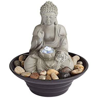 John Timberland Asian Zen Sitting Buddha Indoor Table-Top Water Fountain with Light LED 10  High for Table Desk Office Home Bedroom Relaxation