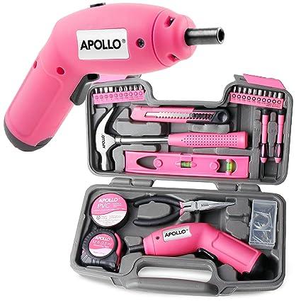 Kit de herramientas domésticas Apollo con 70 piezas y destornillador eléctrico inalámbrico de 6 V (en maletín rosa)