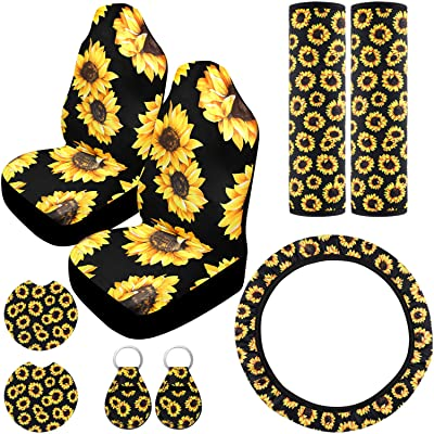 9 Pieces Sunflower Car Accessories, Include Sunflower Steering Wheel Cover, 2 Pieces Car Front Seat Covers, 2 Pieces Seat Belt Covers, 2 Pieces Car Cup Holder Coaster and 2 Pieces Sunflower Keyring: Automotive