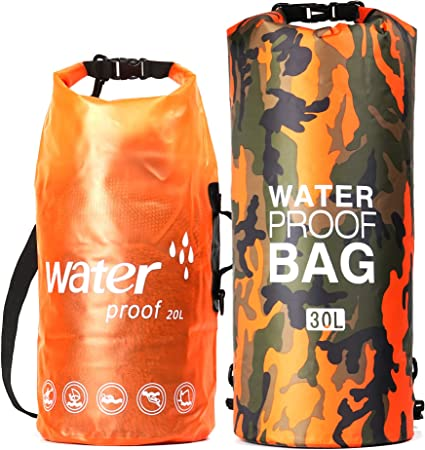 Amazon Com Marjaqe Waterproof Dry Bag Backpack Sac 20l 30l 2 Pack All Purpose Swimming Storage Sack Foldable For Floating Kayaking Fishing Canoeing Hiking Camping Boating Rafting Beach Sports Outdoors