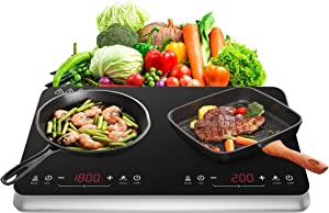 COOKTRON Double Induction Cooktop Burner Portable with Fast Warm-Up Mode, 10 Temperature 9 Power Settings Dual Induction Cooker Cooktop 1800w with Child Safety Lock & Timer