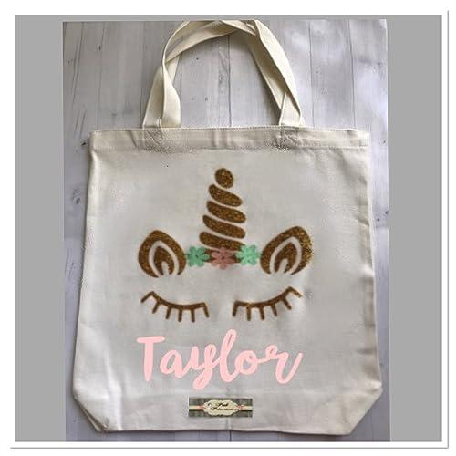 amazon com unicorn bag personalized unicorn canvas tote girl gift