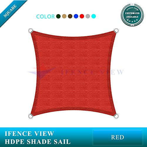 Ifenceview 14 x14 Square UV Sun Shade Sail for Patio Yard Driveway Canopy Awning Outdoor facility Red