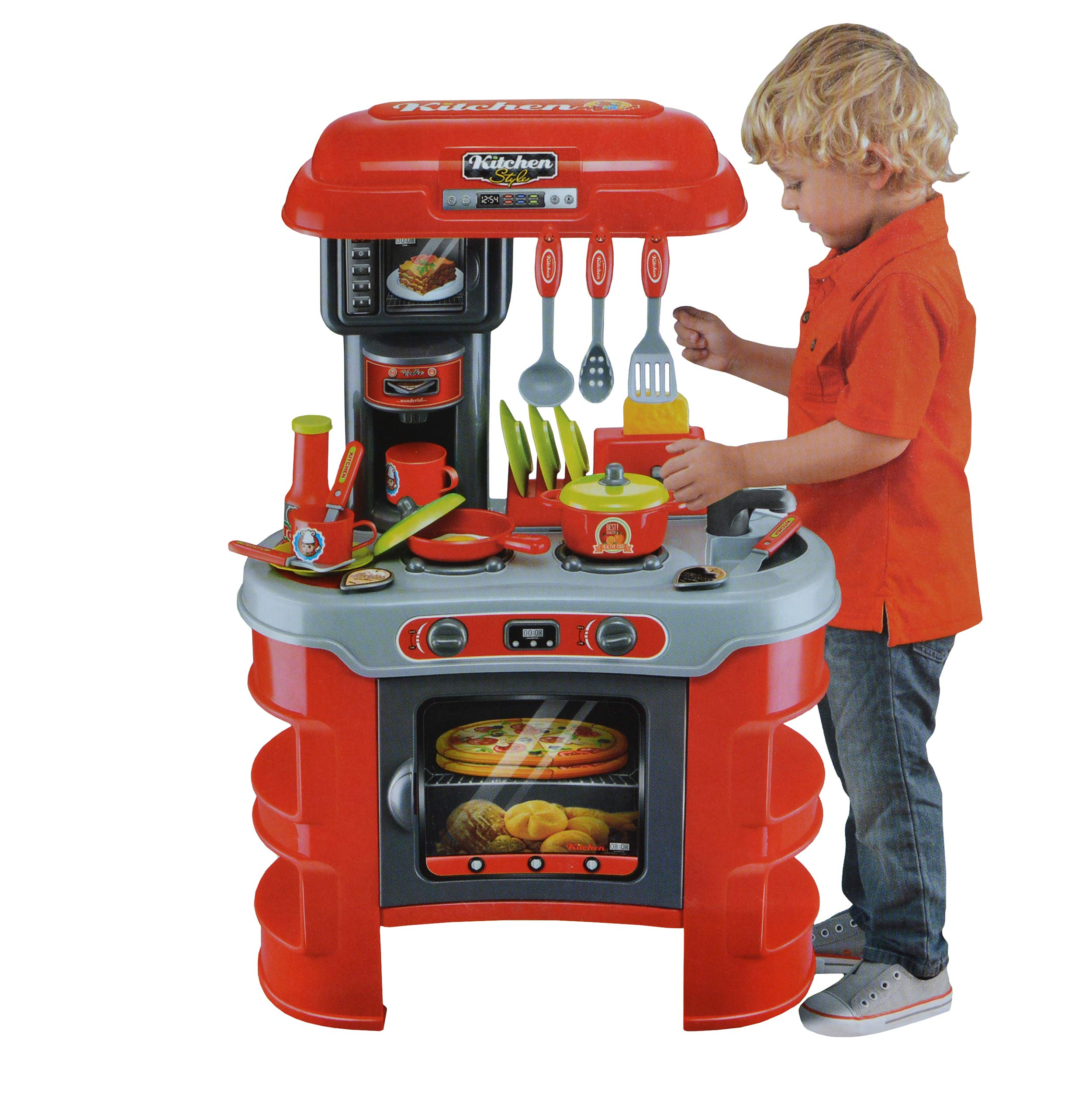 Kids Play Kitchen - Chef Toy Cooking Counter Top Playset For Chiildren Ages 1 to 2 and Toddlers, Pretend Play Small Kitchen - Includes Pots, Pans, Utensils, and Play food (Battery Operated)