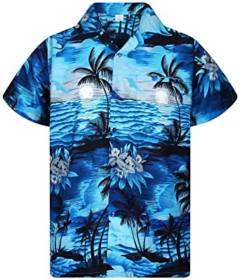 size 40 6cfbd 028f2 Originale King Kameha | Funky Camicia Hawaiana | Uomo | XS - 12XL | Manica  Corta | Tasca-Frontale | Stampa Hawaiano | Turchese Scuro