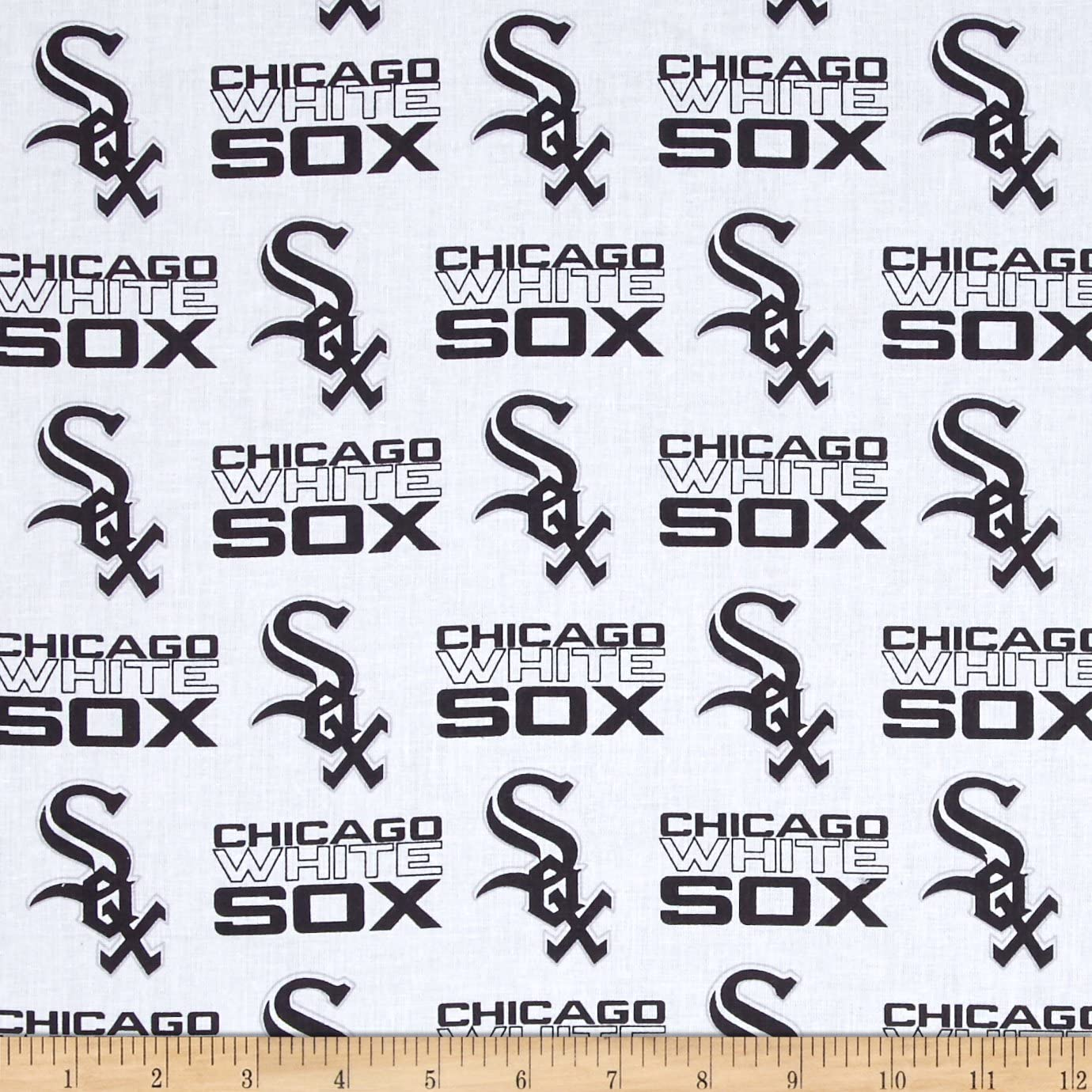 MLB Cotton Broadcloth Chicago White Sox Black/White Fabric by The Yard