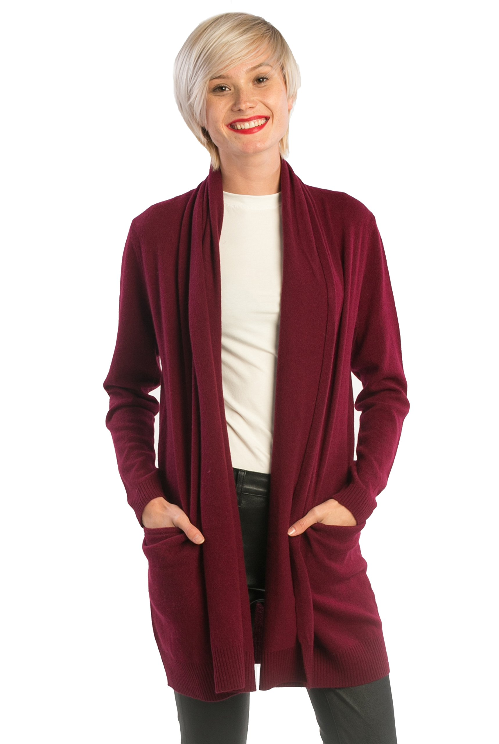 cashmere 4 U 100% Cashmere Open Front Cardigan Coat For Women
