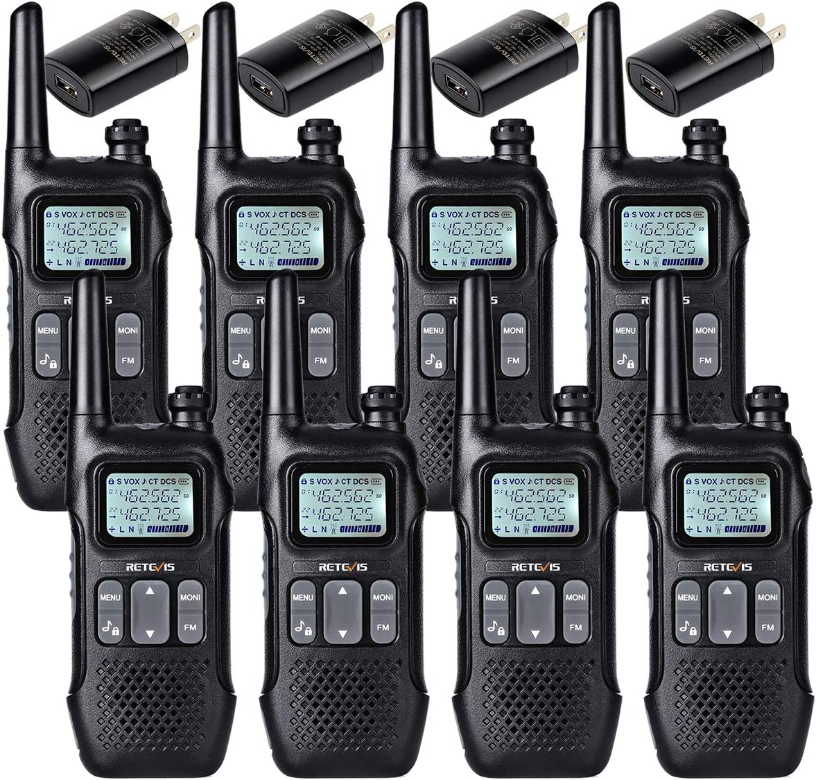 Retevis RT16 2 Way Radio Walkie Talkie for Adult Long Range Dual Watch Emergency Flashlight FM NOAA 22 CH Lock VOX Two Way Radio Rechargeable(8 Pack)