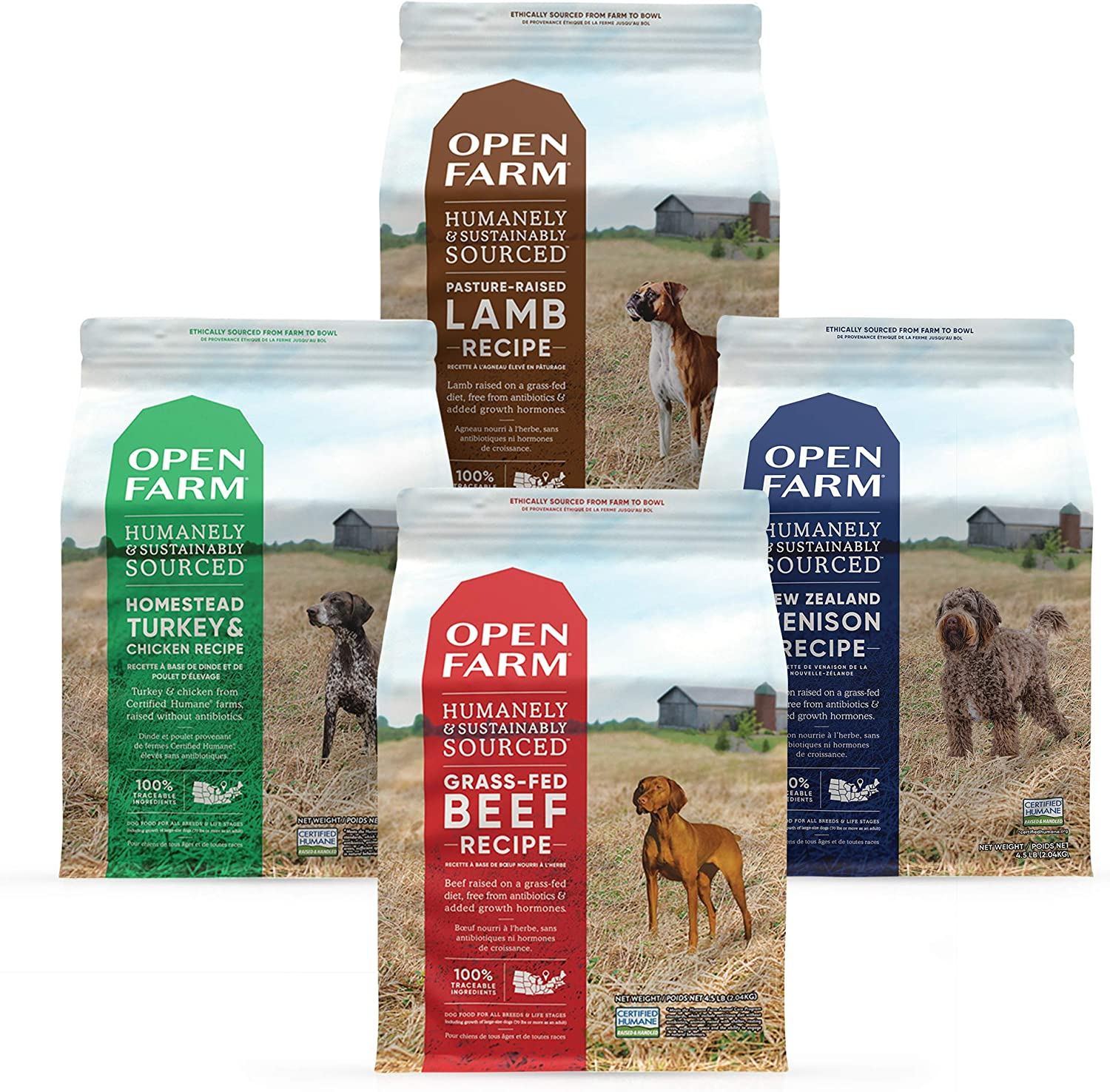 Open Farm Grain Free Dry Dog Food Bundle with Grass-Fed Beef, New Zealand Venison, Pasture-Raised Lamb and Homestead Turkey and Chicken, 4 Pack Bundle