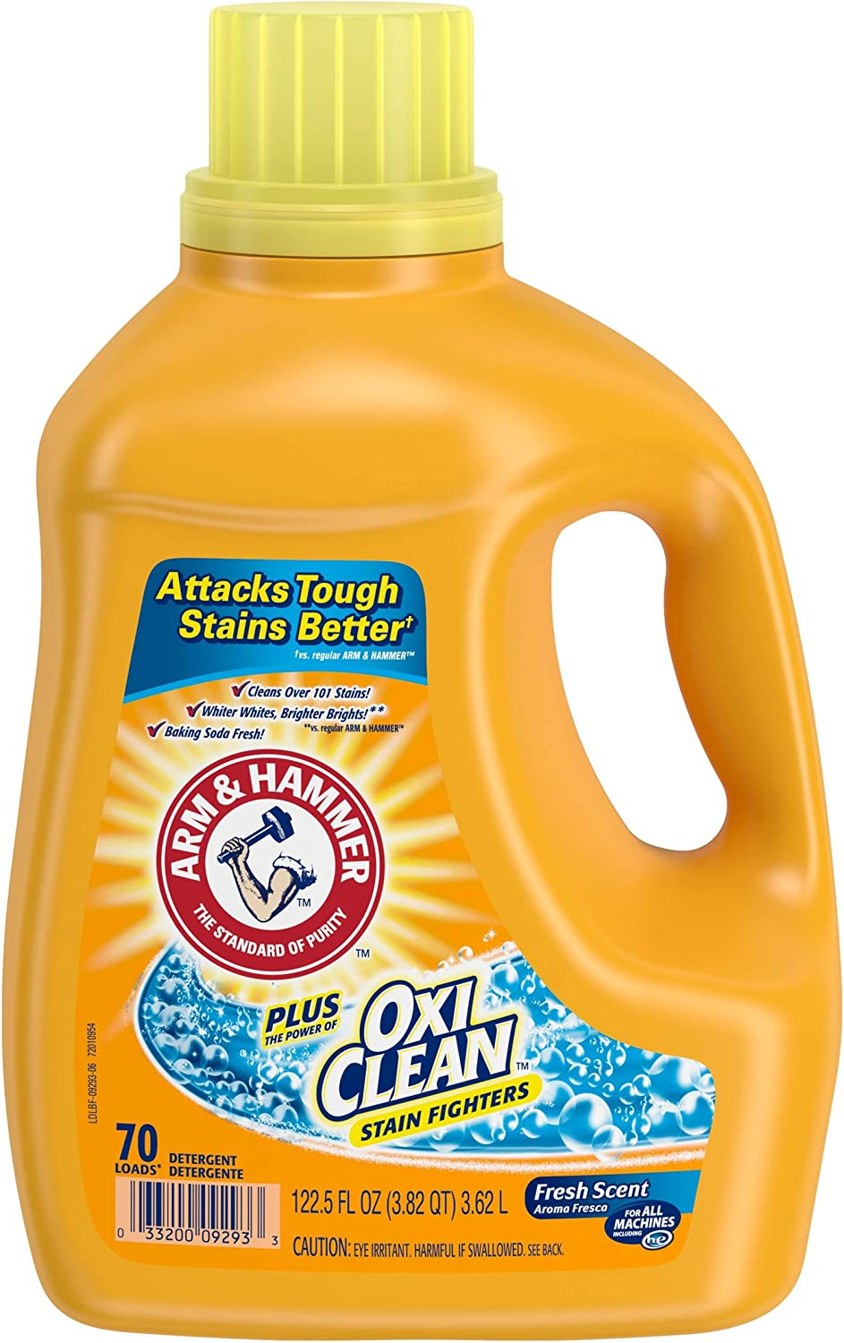 Arm & Hammer Liquid Laundry Concentrate, Fresh Scent plus Oxiclean, 122.5 Fl Oz, Pack of 4