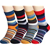 4 Pack Colorful Stripe Cotton Ankle CasualCrew Socks Vintage Style Sport Sock, Large