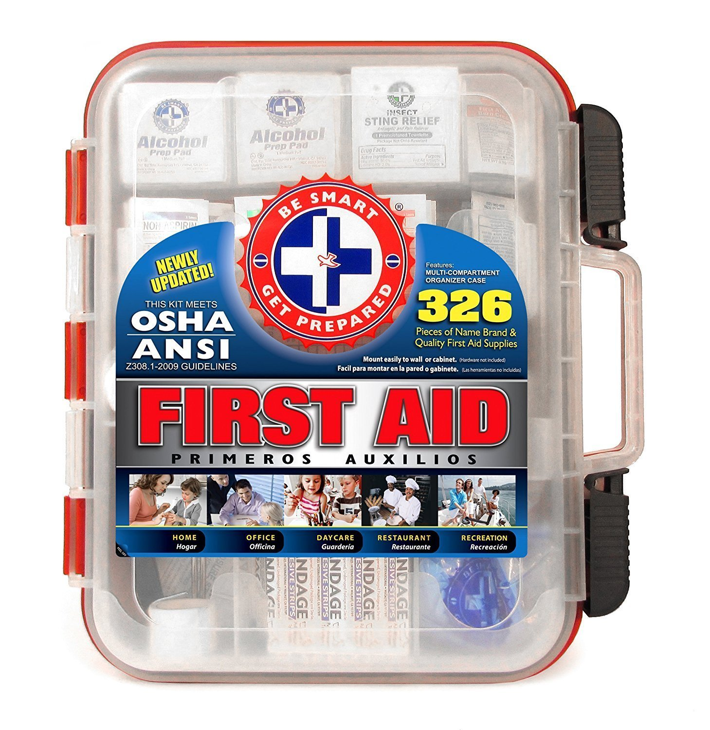First Aid Kit Hard Red Case 326 Pieces Exceeds OSHA and ANSI Guidelines 100 People - Office, Home, Car, School, Emergency, Survival, Camping, Hunting, and Sports by Be Smart Get Prepared
