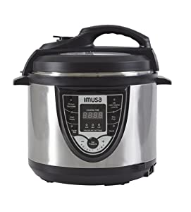 IMUSA USA S/S GAU-80105 5Qt Stainless Steel Digital Pressure Cooke, Black